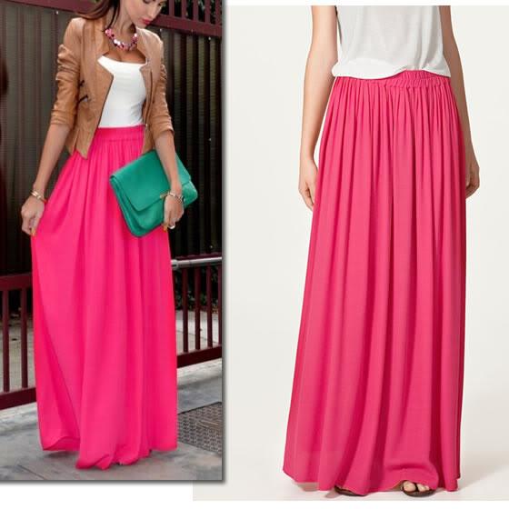 Celebstyle Hot Pink Double Layered Chiffon Full Length Maxi Skirt   eBay