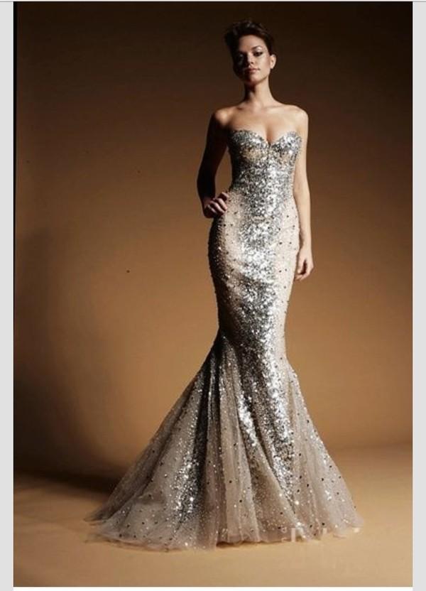dress prom dress long prom dress gold sequins silver sequin dress mermaid prom dress gorgeous