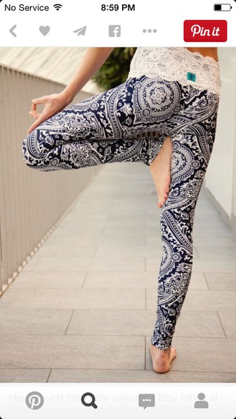 leggings tribal pattern lace up