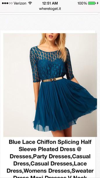 dress blue chiffon dress