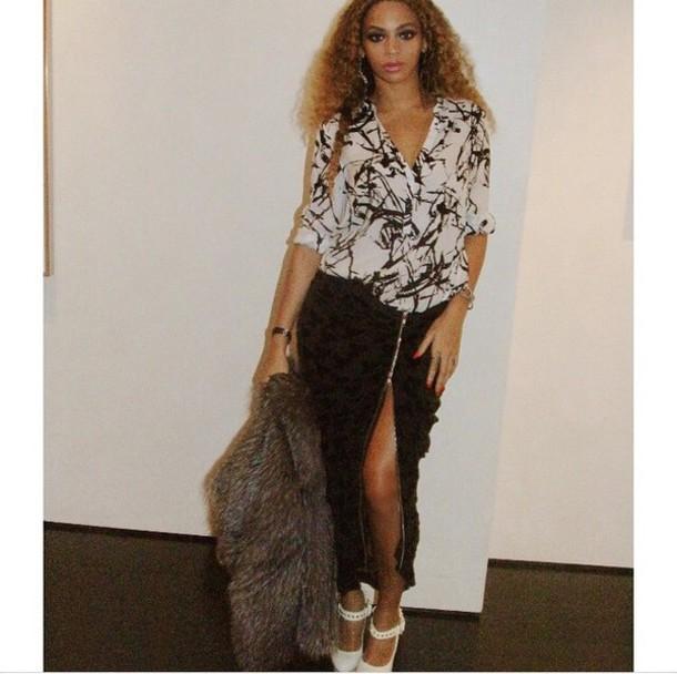 black skirt zip beyonce beyonce slit skirt split skirt dress blouse