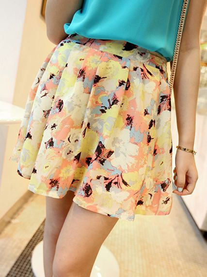 Summer Lady Fashion Elastic Band Floral Print Yellow Mini Skirt