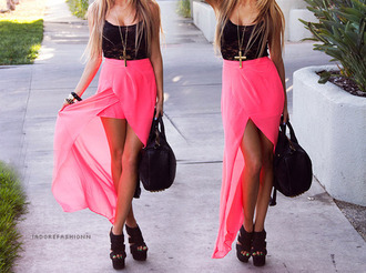 black top see through mesh top lace top black lace black lace top wedges black shoes black bag pink skirt pink asymmetrical pink maxi skirt asos