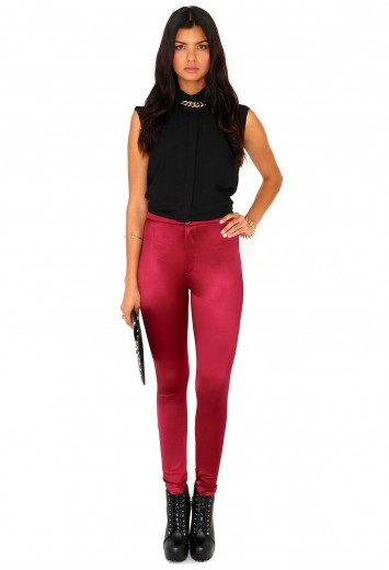 Bronwen Button Front Shiny Disco Pants - Leggings - Missguided