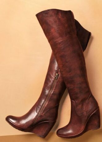shoes wedges overknee over the knee boots brown leather boots