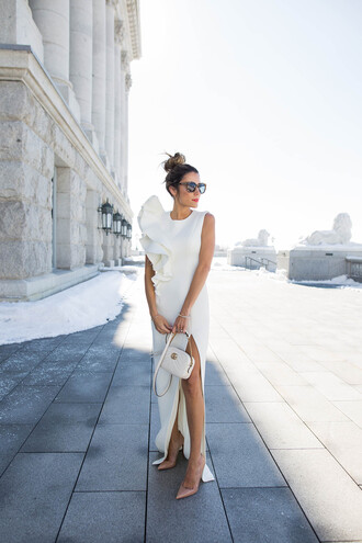 hello fashion blogger dress shoes sunglasses jewels jacket pants white dress slit dress ruffle dress