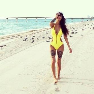 swimwear sexy one piece swimsuit zip yellow yellow swimwear