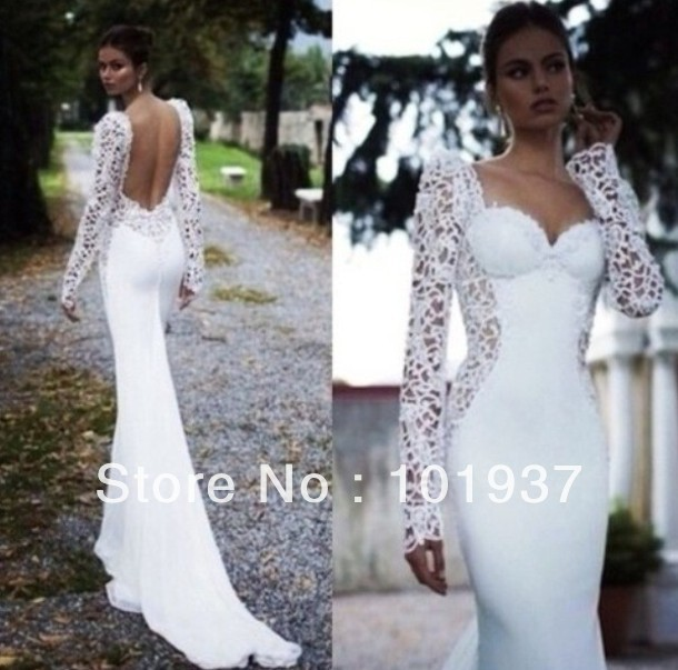 2014 New Design Elegant White Lace Court Train Sweetheart Sheath Long Sleeve Open Back Wedding Dress Bridal Gowns -in Wedding Dresses from Apparel & Accessories on Aliexpress.com