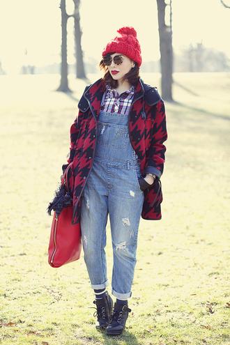 keiko lynn blogger gloves houndstooth denim overalls pom pom beanie red bag hat sunglasses shirt socks scarf shoes bag