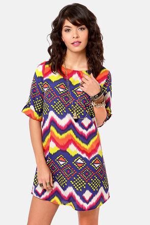 Hip Print Dress - Shift Dress - $41.00