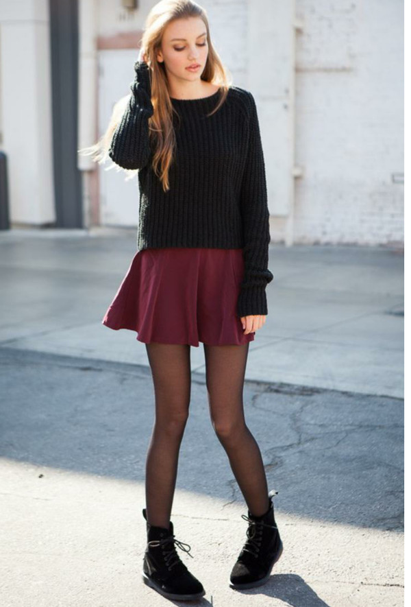 skirt blouse tights shoes top