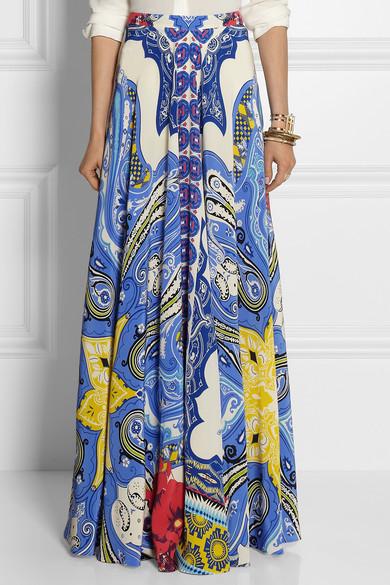Etro|Printed silk-crepe maxi skirt|NET-A-PORTER.COM