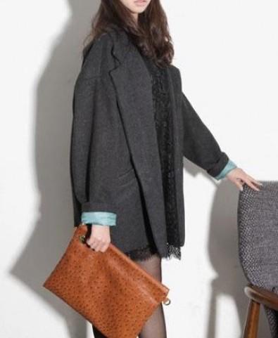 Big Lapel Long Sleeves Coat - Jackets & Coats - Clothing