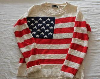 sweater cute warm cozy vintage oversized jumper cardigan american flag american flag winter outfits