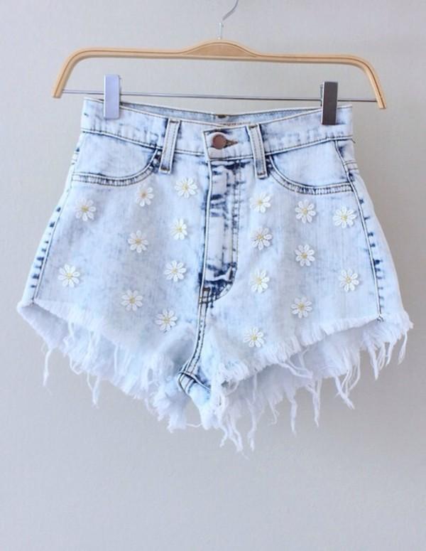 shorts short denim daisy floral summer flowers high high waisted acid wash denim shorts grey hot pants High waisted shorts flowered shorts ripped style