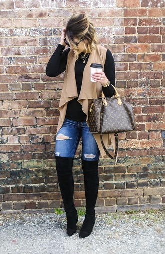 life & messy hair blogger shoes t-shirt jewels sunglasses bag jacket thigh high boots boots louis vuitton bag vest