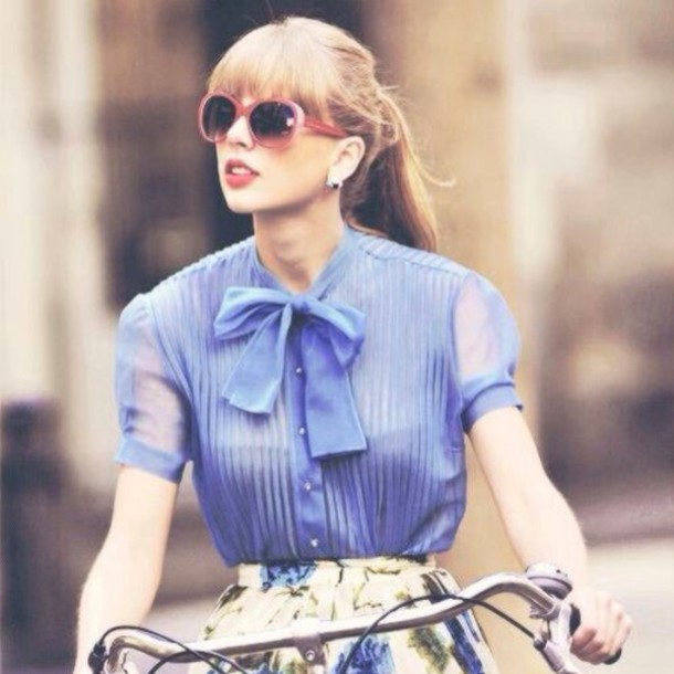 blouse taylor swift blonde hair bows blue shirt skirt fashion flowers retro vintage pink sunglasses floral skirt