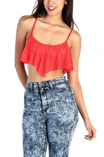 LoveMelrose.com From Harry & Molly | LACE RUFFLE CROP TOPS - Tomato Red