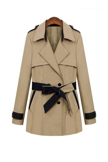 Elegant Color Contrast Belt Coat [FEBK0234]- US$42.49 - PersunMall.com