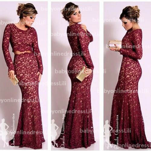Latest dresses evening Scoop neck Long sleeves lace red long party prom dress 2014  formal dress BO2471-in Evening Dresses from Apparel & Accessories on Aliexpress.com