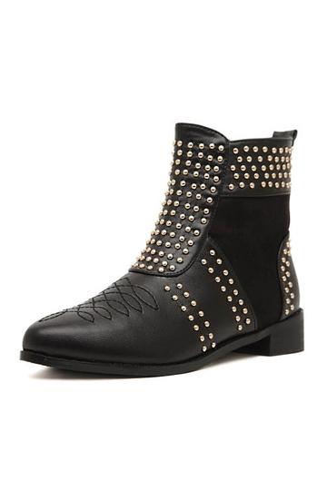 Rivet and Zipper Short Martin Boots [FABI1441]- US$54.99 - PersunMall.com