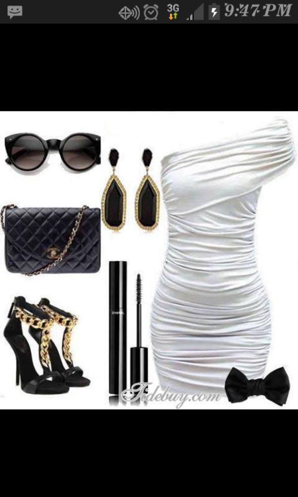 dress black white dress bows cute high heels