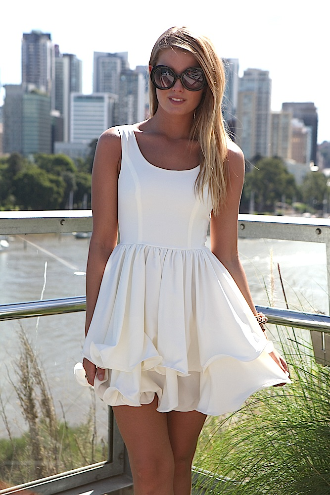White Party Dress - White Sleeveless Dress with Double | UsTrendy