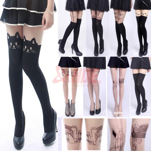 Sexy Fashion Pantyhose Design Pattern Printed Tattoo Stockings Tights Leggings | eBay