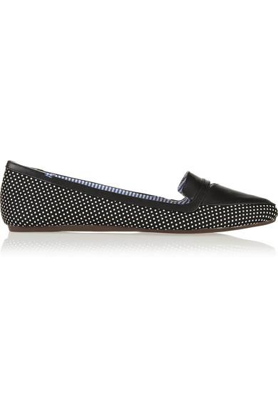 Charles Philip Shanghai|Inna polka-dot canvas point-toe flats|NET-A-PORTER.COM