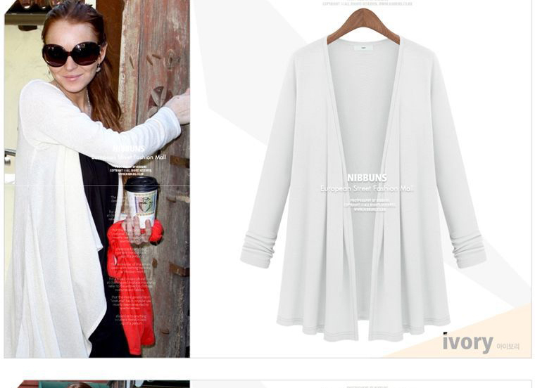 UK Women's top 2014 spring new fashion plus size candy color white pink grey blue maxi long cardigan Free shipping wholesale-in Cardigans from Apparel & Accessories on Aliexpress.com