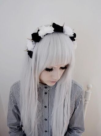 jewels spiked headband flower headband pastel goth hat black white spikes emo goth cool hair accessory kawaii blouse grunge button stripes black and white stripey unusual indie retro vintage punk button up button down shirt button down buttons punk jacket stripped pale pale grunge gothic grunge fashion fabulous chinese japan flower crown pastel tumblr pastle goth pastel hair