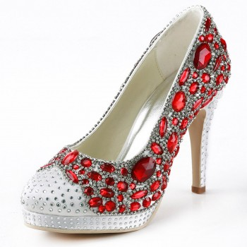 Stiletto Heel Satin Closed Toe Shoes With Rhinestone And Chains On Sale - Fadhits - English - p-Ashoes0384