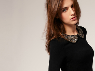sweater col claudine strass paillettes l