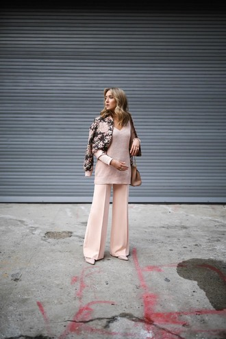 memorandum blogger pants sweater jacket bag shoes jewels wide-leg pants pink sweater bomber jacket