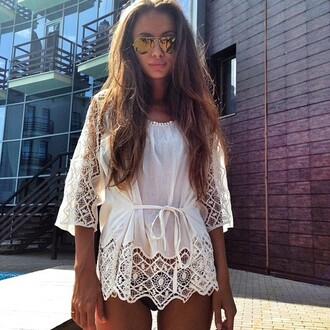 blouse tunic lace model dress pattern sunglasses dress summer white vintage chrochet dress white dress summer dress gold sunglasses white summer cover cream white cover up cream lace white lace cover up wite top summer outfits summer top tie up jumpsuit romper crochet cut out lace white shirt girly