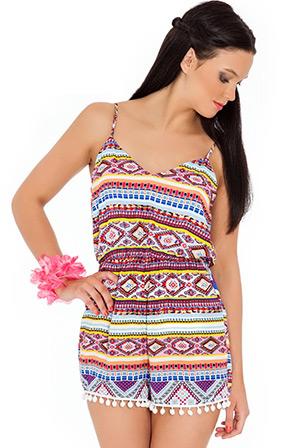 Bobble Trims Aztec Print Play Suit