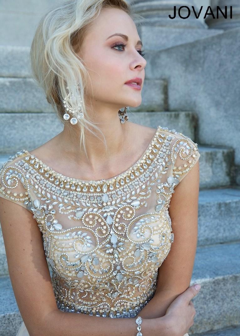 Jovani 88174 - Aqua Beaded Cap Sleeve Chiffon Dress - RissyRoos.com