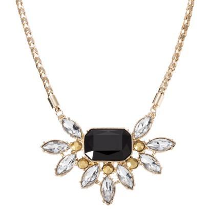 Short Pendant Necklace On Mesh Chain - Black/Gold : Target