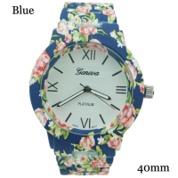 Ladies Watches :: Ladies Designer Styles :: Geneva Ladies Rubberised Coated Floral Print Watch 40mm - Wholesale of fashion watches, solid bar and beading watch faces, safety pin watches, silicone watches, wrap around watches, bangle watches