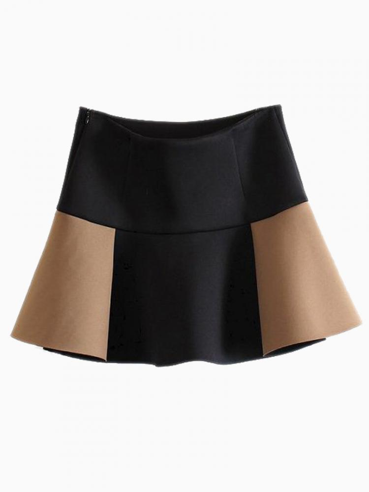 Contrast Color High Waisted Skater Skirt | Choies