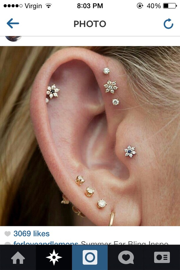jewels earrings cartlidge tragus flowers