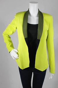 New Laveer Neon Yellow Olive Silk Colorblock Collar Slim Jacket Blazer 2 $473   eBay