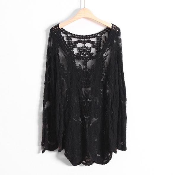 FM Women Lace Retro Floral Knit Top Long Sleeve Crochet T Shirt Black Blouse F | eBay