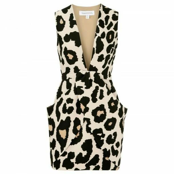 dress leopard print low cut midi v neck sleeveless