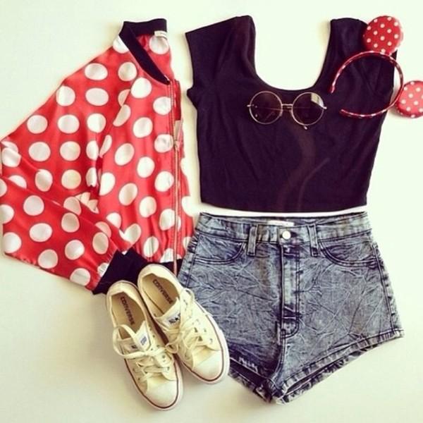 jacket minnie mouse jacket red polka dots disney sunglasses shoes hat t-shirt shorts denim denim shorts cute pretty