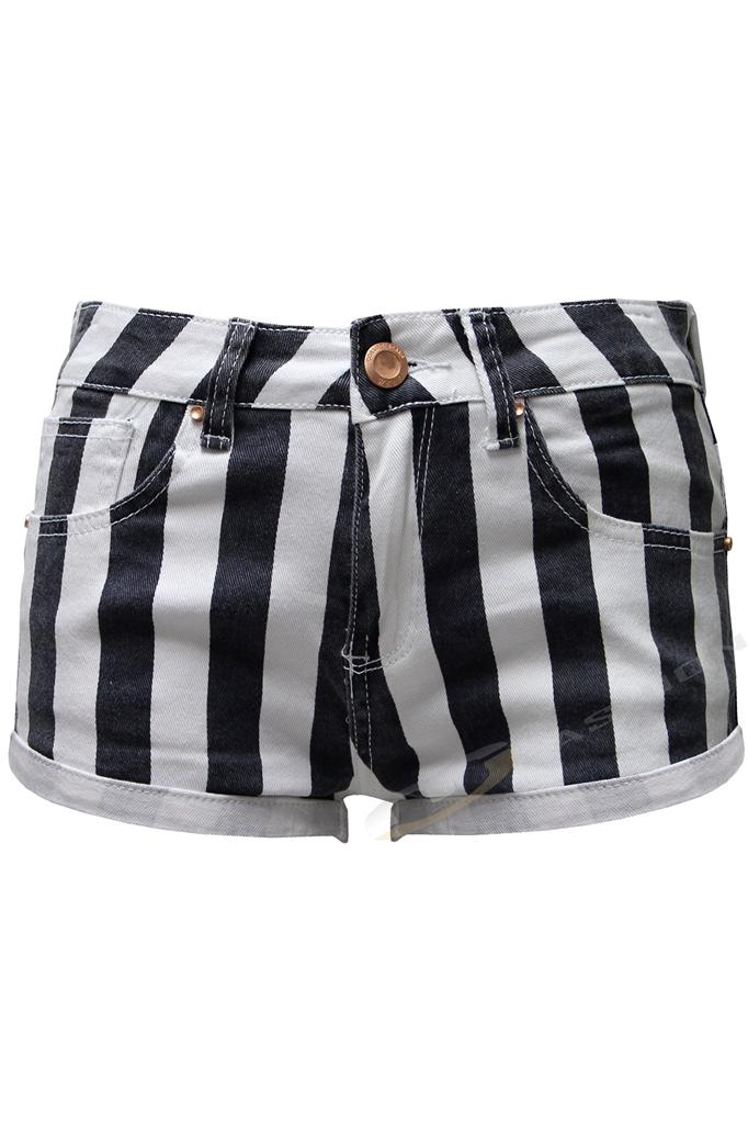 Vertical Stripe Nautical Hot Pants Denim Shorts Womens ...