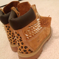 Spiked, Painted Cheetah Print Timberland Boots on Wanelo