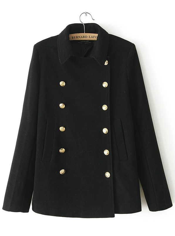 Black Lapel Long Sleeve Double Breasted Coat - Sheinside.com