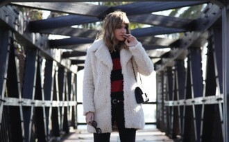 my daily style coat sweater jeans shoes bag sunglasses