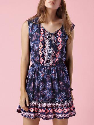 dress dressfo tribal pattern boho boho chic trendy casual slanelle sleeveless summer dress blue dress